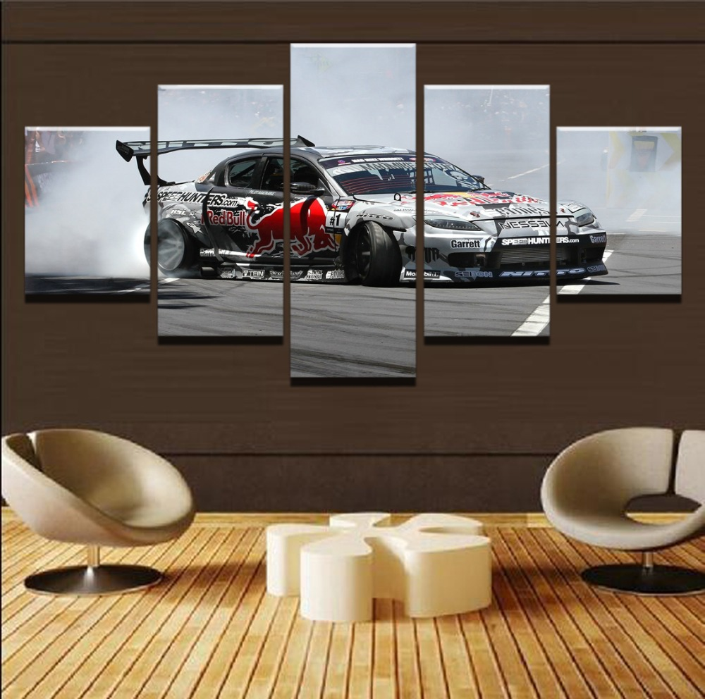 5 Panel MAZDA RX8 Sports Racing Car Canvas Art Wall Modular Picture Home Decor Living Room Canvas HD Printed Modern Painting