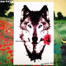 Nu-TATY Grey Wolf Valentine Temporary Tattoo Body Art Sleeve Arm Flash Tattoo Stickers 12x20cm Waterproof Tatto Henna Fake Tatoo