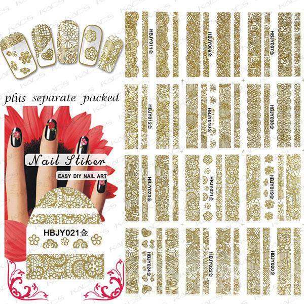 2015 NUEVO 90 Unids/lote HBJY007-024 Nueva 3D Flor Del Cordón de Oro Diseño Nail Art Stickers Decals Para Herramienta de Decoración Consejos