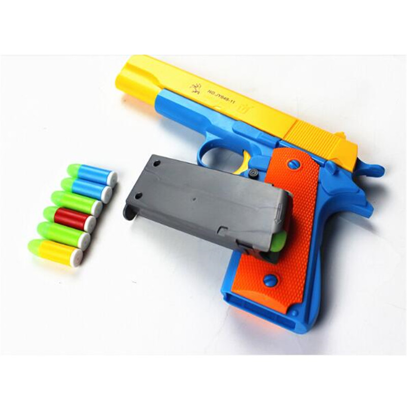 Manual toy pistol Soft Bullet gun matching soft latex luminous bullet M1911 semi-automatic simulation Outdoor game Children gift