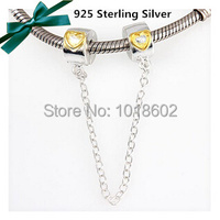 925 Sterling Silvery Gold Plated Heart Safty Chain Bead Accessorie For Fashion Bracelet Necklace 1pc Lot
