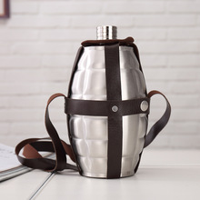 64oz Large Capacity Spot Pattern Hip Flask grenade Leather Holster Stainless Steel