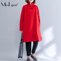 MissLymi XXL XXXL Plus Size Women Red Elegant Girl Dress 2017 Autumn Winter Buttons Stand Long