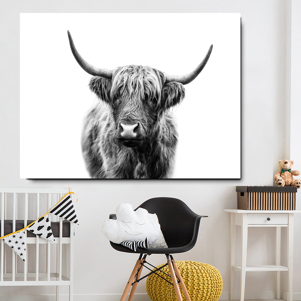 HTB1DKRUJHrpK1RjSZTEq6AWAVXaE Black and White Highland Cow Cattle Wall Canvas Art Nordic Painting Poster and Print Scandinavian Wall Picture for Living Room