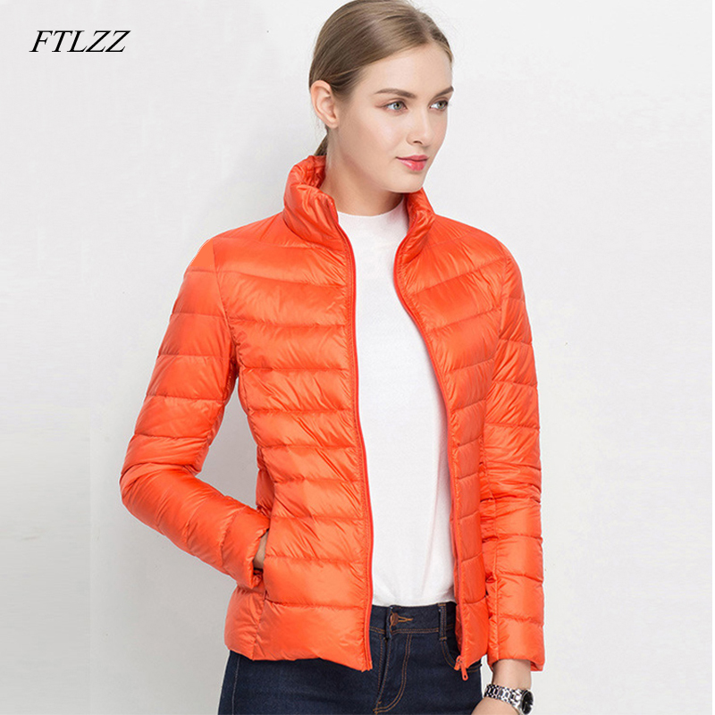 FTLZZ Women 90% Ultra Light White Duck   Down   Jacket Spring Winter Short Jackets Puffer Jacket Portable Windproof   Down     Coat