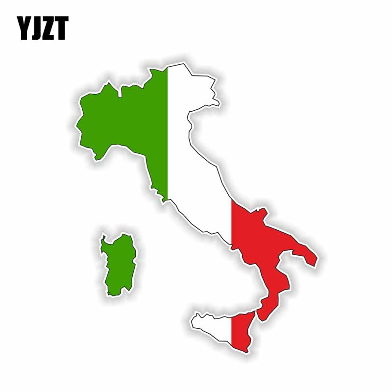 YJZT 10.2CM*12.2CM Funny Flag Decal Car Accessories Italy Map Car Sticker 6-0919