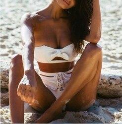 2018 kobiet Bikini zestaw stroje kąpielowe Push Up wyściełana stroje kąpielowe bandaż Baikini seksowne damskie stroje plażowe wysokiej talii kostiumy kąpielowe 3