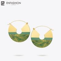 Enfashion Lacquer Art Series Autumn Field Drop Earrings Fan Shape Big Gold color Earrings for Women Earings oorbellen EBQ18LA19