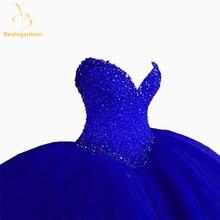Gwisgoedd Cennad Cochion Bealegantom Gwisgoedd Quinceanera 2017 Gown Beaded Beaded Sweet 16 Gwisg 15 Blynedd Vestidos De 15 Anos QA1182