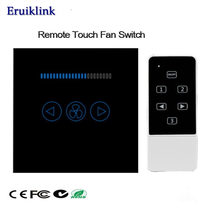 UK Standard 500W Fan Switch Crystal Glass Panel Touch Wall Switch Smart Home 433mhz RF Switch Works With Broadlink Rm Pro in Switches from Lights Lighting