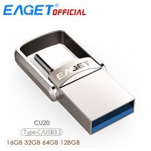EAGET Тип C USB флешка 16 ГБ USB 3,0 флэш-накопитель 32 ГБ 64 ГБ 128 ГБ Pendrive USB Stick диск для huawei для телефонов Xiaomi ноутбуки