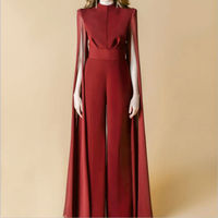New Women Chiffon Jumpsuits Wine Red Black Straight Ruffless Evening Club Party Slim Rompers Playsuits Fashion Full Length Pants