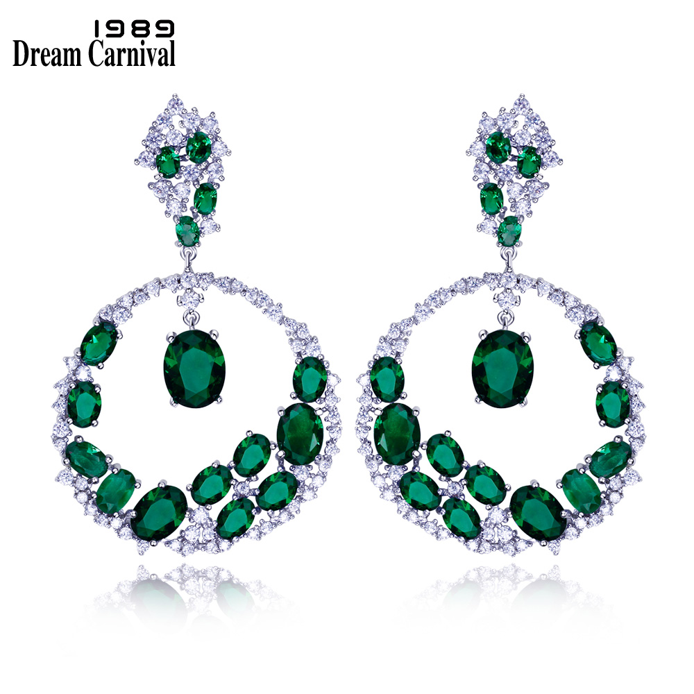 DreamCarnival 1989 Gorgeous Style Big Round Shape Dangles Fashion Wedding Jewellery Zircon Stones Statement Earrings SE10417R pair of gorgeous chic style faux gem embellished women s leaf shape drop earrings