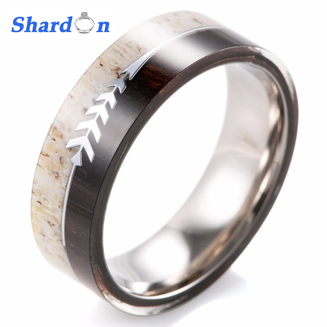 titanium ring wedding jewelry gift rings antler deer elk and