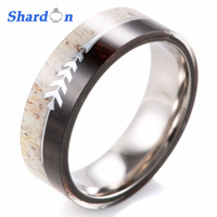 SHARDON Titanium Wedding Band With Deer Antler And Ironwood, Men's Wedding Band with Sterling Arrow, Archery Jewelry