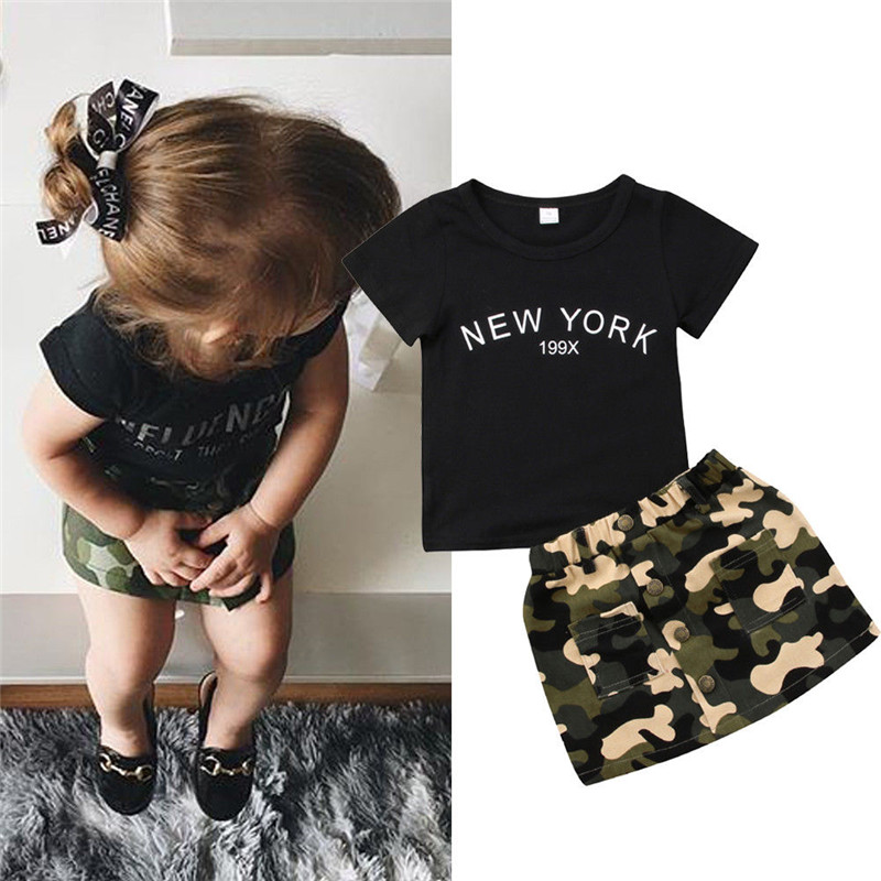 Newborn Kid Baby Girl Clothes Round Neck Short Sleeve Letter Print Top Camouflage Button Pocket Skirts 2pc Toddler Cotton Outfit(China)