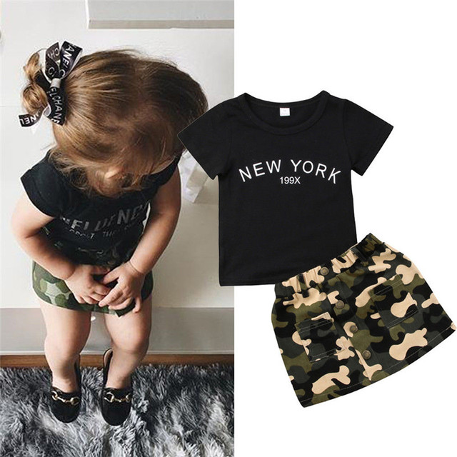 Newborn Kid Baby Girl clothes round neck short sleeve letter print Top Camouflage Button pocket Skirts 2pc Toddler cotton Outfit