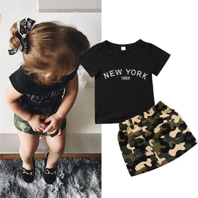 Sơ sinh Kid Baby Girl quần áo vòng cổ ngắn tay áo letter in Top Ngụy Trang Nút pocket Váy 2 cái Toddler bông trang phục