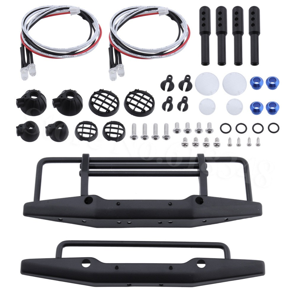 RC SCX10 1/10 parts Metal Front Bumper With LED Lights For Axial SCX10 90046 Traxxas TRX-4 TRX4 RC Crawler Upgrade Parts чайник электрический marta mt 1095 черный жемчуг