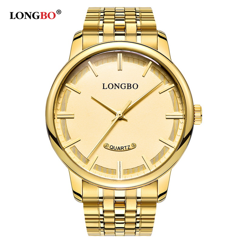 Fashion LONGBO Brand Quartz Watch Lovers Watches Women Men Couple Lovers Business Gift Analog Steel Wristwatches Casual Gold