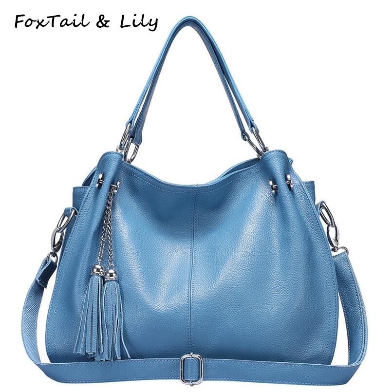FoxTail Lily Tassel Women Genuine Leather Handbags Luxury Quality Soft Leather Crossbody Woman Bag Famous Brand