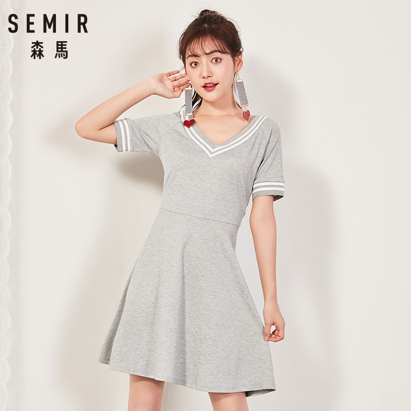 Semir 2018 Summer New Dress Female Slim V-neck Waist Temperament Dress Student Hit Color Pleated Lady Dress For Women 3
