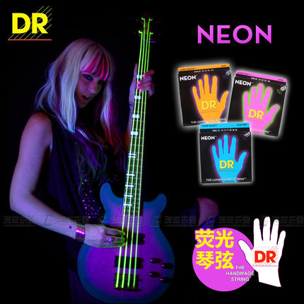 DR Strings NEON Hi-Def 4-Strings Bass SuperStrings Bass Guitar String, Lite 40-100 or Medium 45-105 dr strings nmcb 40 nmcb 45 nmcb5 45 dr k3 neon bass guitar strings light multi color