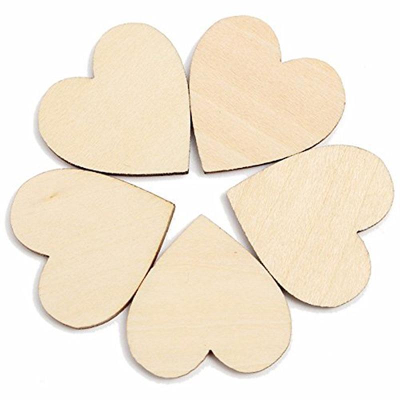 50pcs 20mm Wooden Heart Kids Birthday Party Supplies Diy Scrapbook Craft Wedding Decoration ValentineS Day