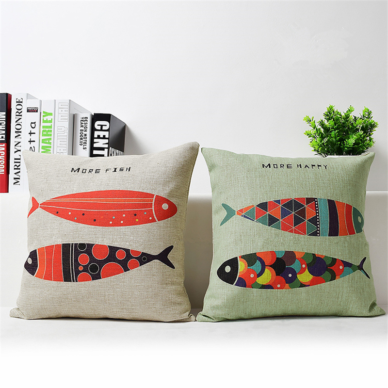 Nordic Cushion Cover Animal Cushion Cotton Linen More Fish More Happy American Pastoral Sofa Home Decorative Throw Pillow Cover