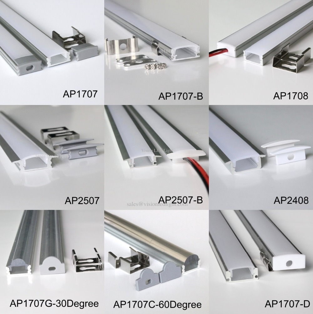 40m (20pcs) A Lot, 2m Per Piece,  Led Aluminum Profile AP1707 For 12mm Wideness Or Below Led Strips