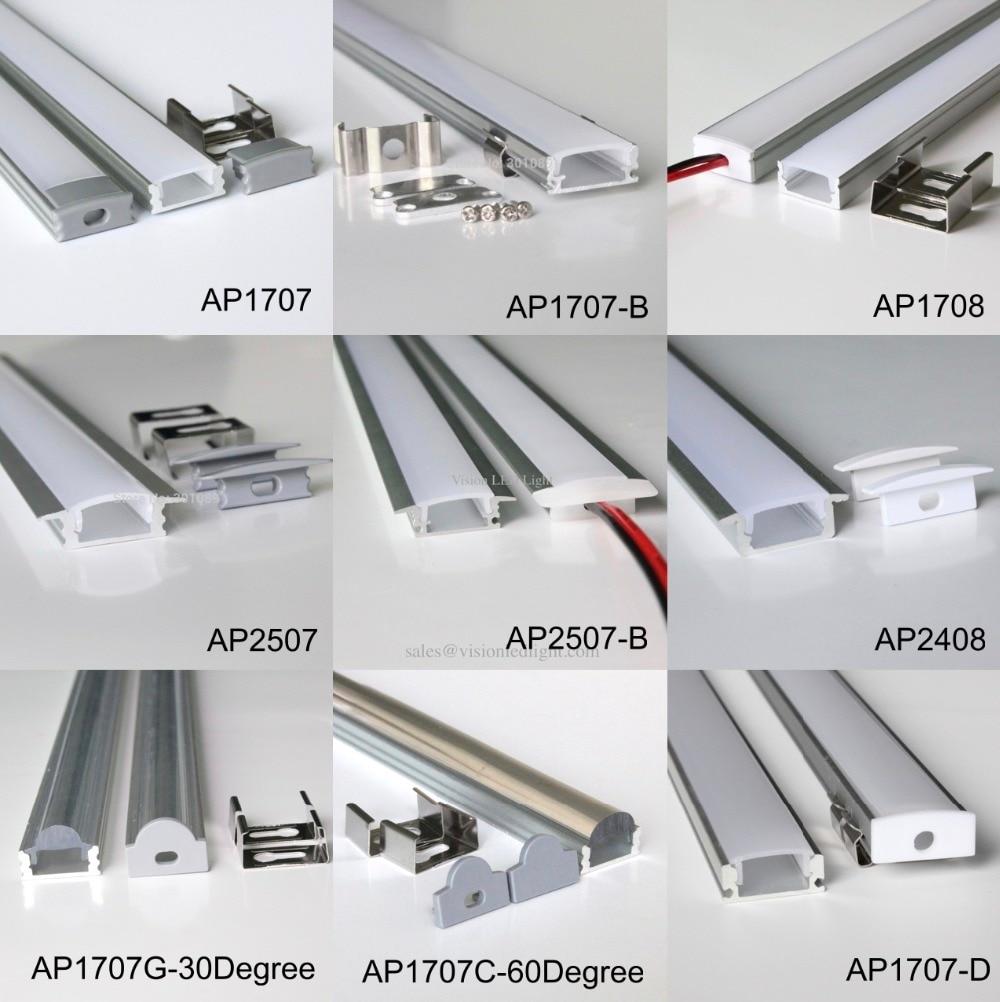 40m (20pcs) A Lot, 2m Per Piece,  Led Aluminum Profile AP1707 For 12mm Wideness Or Below Led Strips