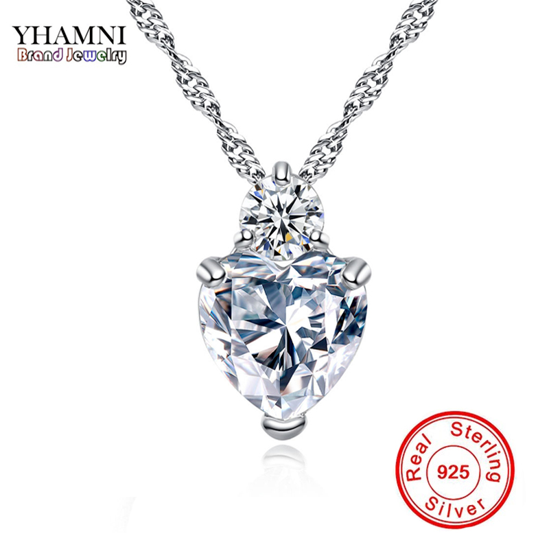 YHAMNI Heart Pendant Necklace 925 Sterling Silver Women Necklaces Wedding Crystal Collares Colar Jewerly XN29