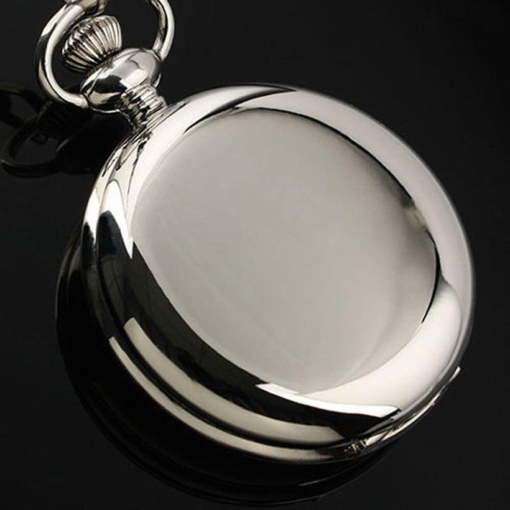 2019 New Smooth Quartz Pocket Watches Fob Chain Watch Full Hunter Round Face Silver Rose Golden Black Gift Reloj De Bolsillo
