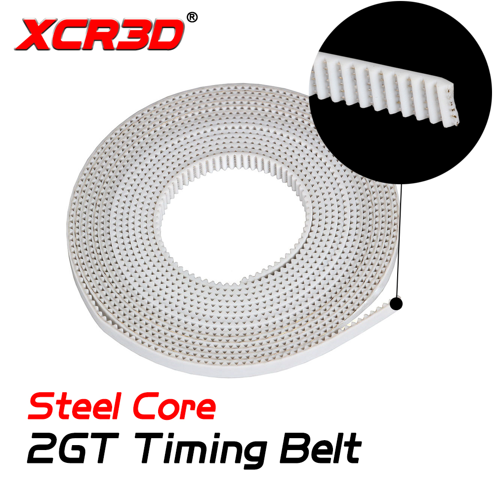 XCR3D 3D Printer Parts GT2 Timing Belt UP with Steel Core 1M 5Meter 2gt Open Belt Width 6mm White fo