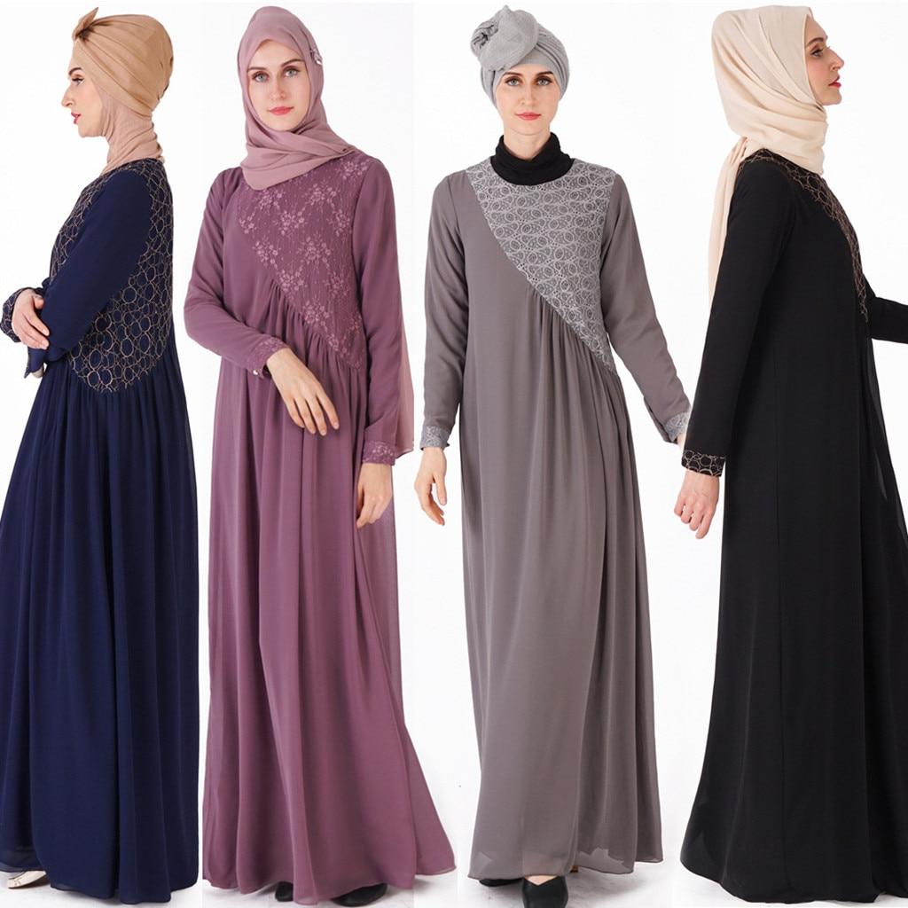 Nouvelle Robe Longue D'été décontracté robe musulmane pour la fête O-cou Maxi Robe À Manches Longues Arabe Jilbab Abaya Vêtements a417