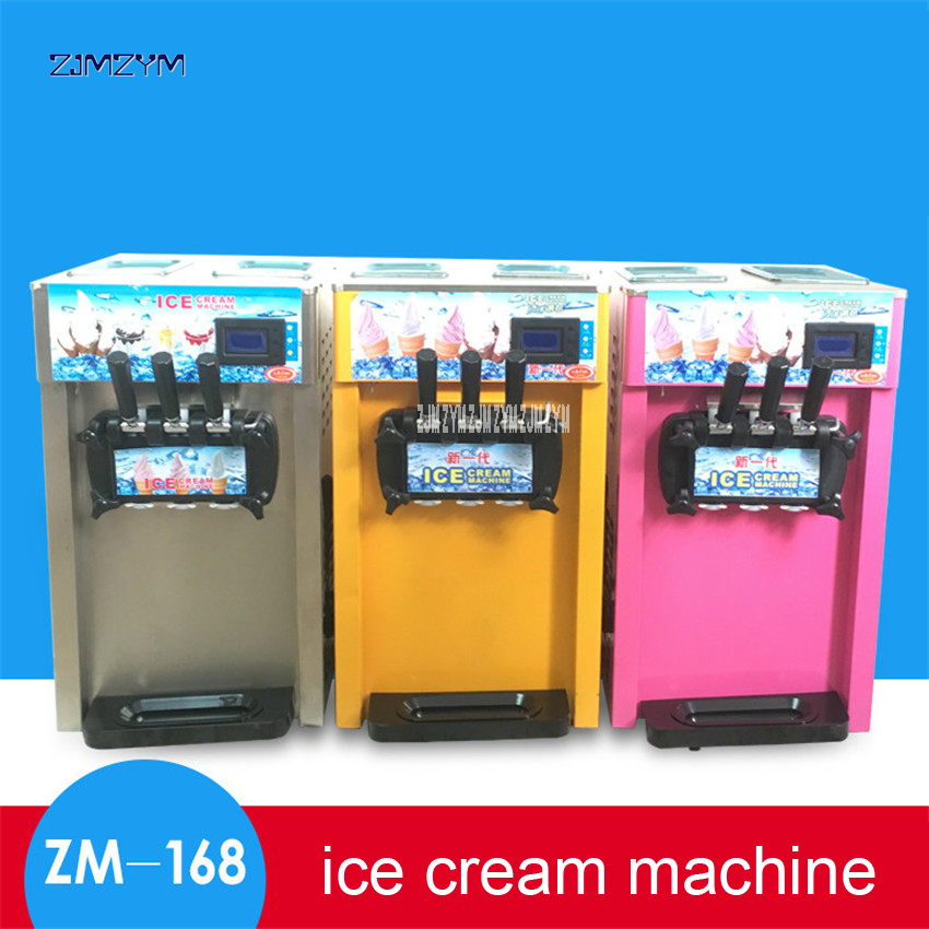 цена на 1PC 3 Flavors Ice cream machine Small soft Ice cream maker Desktop Stainless steel Yogurt machine ZM-168 110V/220V 1200W power