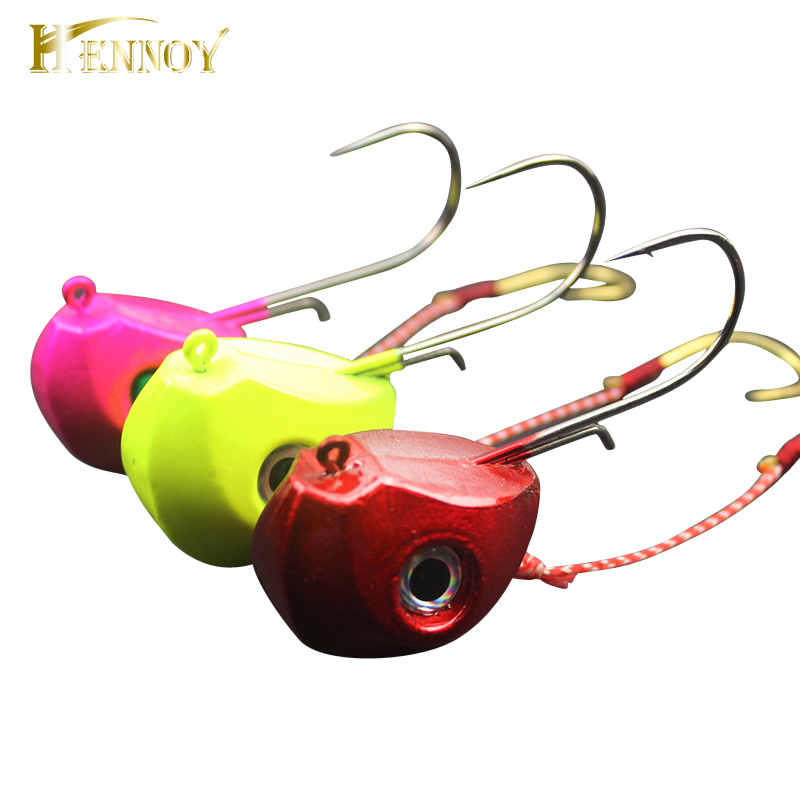 Hennoy 2019 New Jig Lures 40g 60g 80g 100g Lead Head Jigs With Single Hook Pesca Accessories Boat Fishing Enquipment
