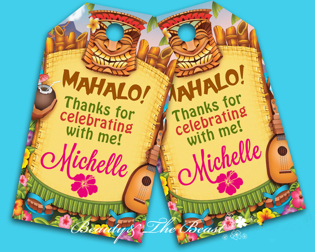 Personalized Luau Gift Favor Tags Thank You TagsBirthday Party Decorations Kids Goody Bag Baby Shower