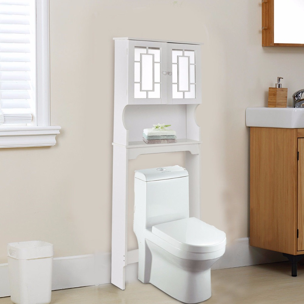 Goplus Bathroom Over The Toilet Space Saver with Shelf and 2 Door ...