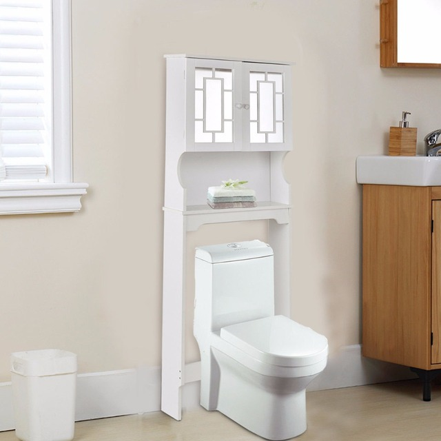 Attrayant Goplus Bathroom Over The Toilet Space Saver With Shelf And 2 Door Mirrored  Cabinet Organizer