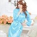 1 pcs Mulheres Sexy Satin Lace Robe Pijamas Lingerie Nightdress Kimono Intimate Vestido de Noite de Sexo Produtos