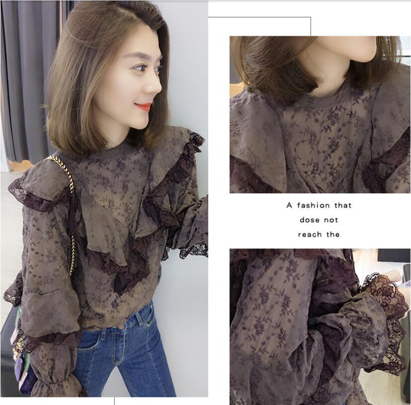 Корейские модные весенние женские 2019 новые гофрированные шифоновые кружевные женские рубашки топы и блузки больших размеров женское платье - 4