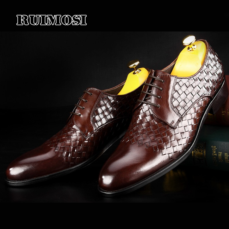 RUIMOSI Round Toe Derby Man Formal Dress Shoes Genuine Leather Handmade Party Oxfords Luxury Men's Wedding Bridal Footwear MG47