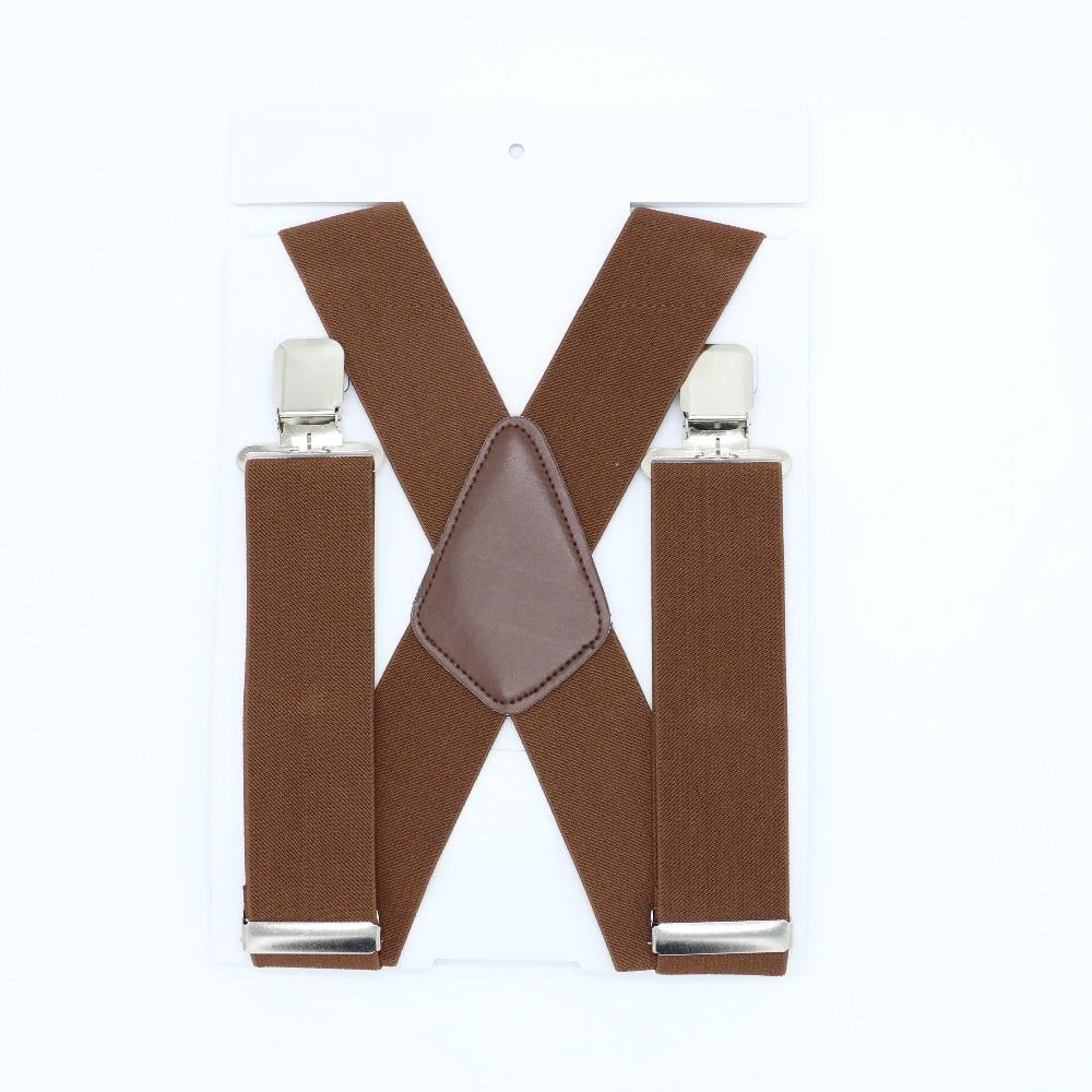105*5cm X Back 4 Clip Adjustable Classic Comfort Men Business Solid Wedding Suspenders Trousers Braces High Quality
