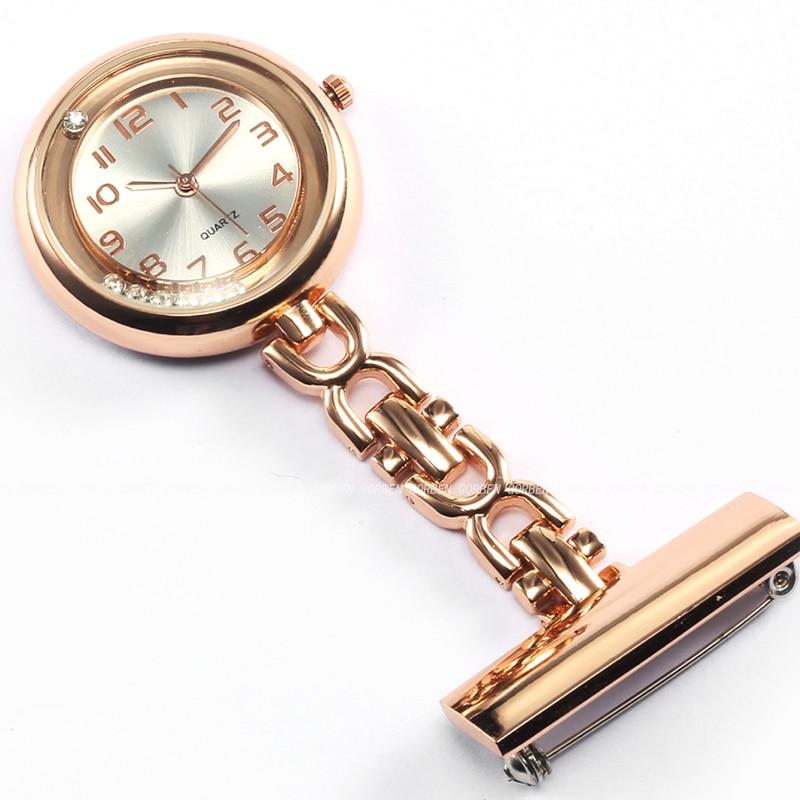 Luxury Crystal Rose Gold Stainless Steel Nurses Pin FOB Watch Clip-on Hanging Brooch Round Quartz Pocket Watch Men Women Relogio