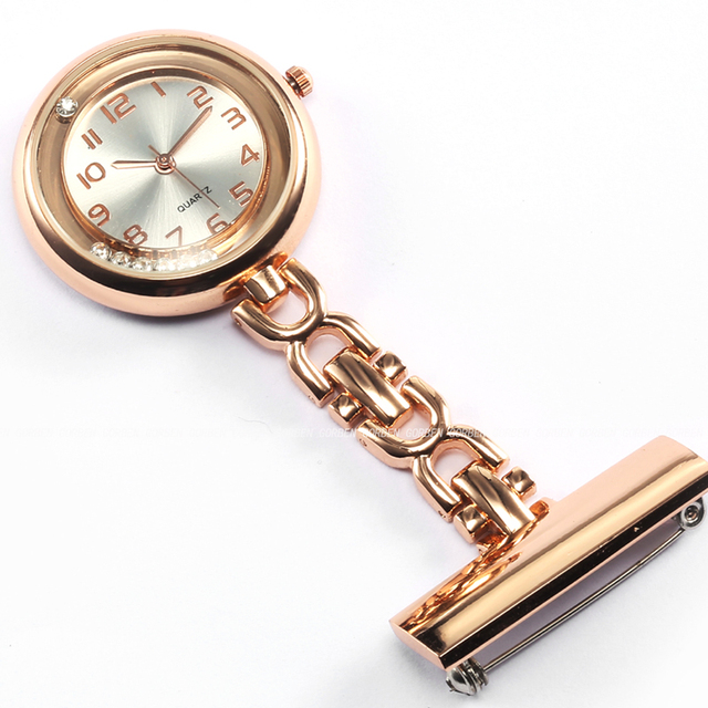 Luxury Crystal Rose Gold Stainless Steel Nurses Pin FOB Watch Clip-on Hanging Br