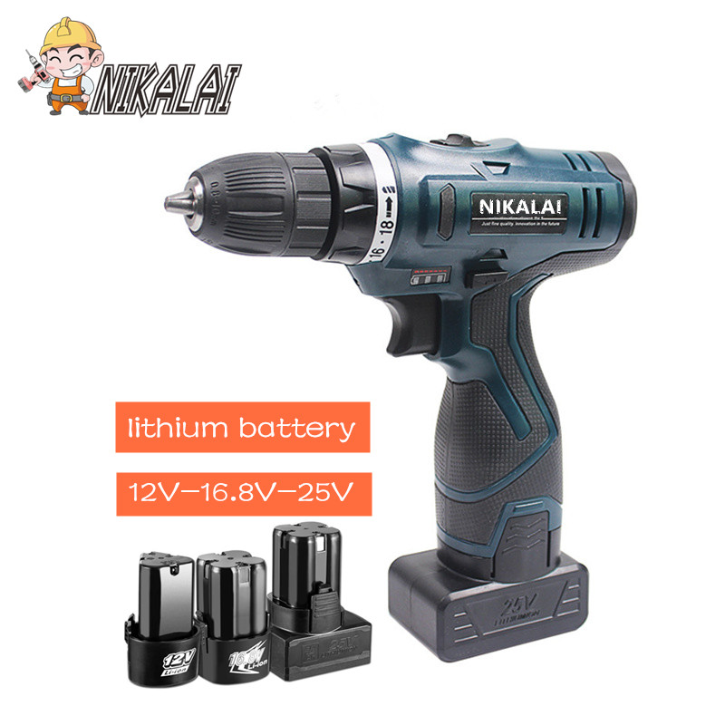 12V 16.8V 25V lithium battery*2 Torque cordless screwdriver electric screwdriver hand drill Driver suitcase case power tool sets-in Electric Screwdrivers from Tools    1