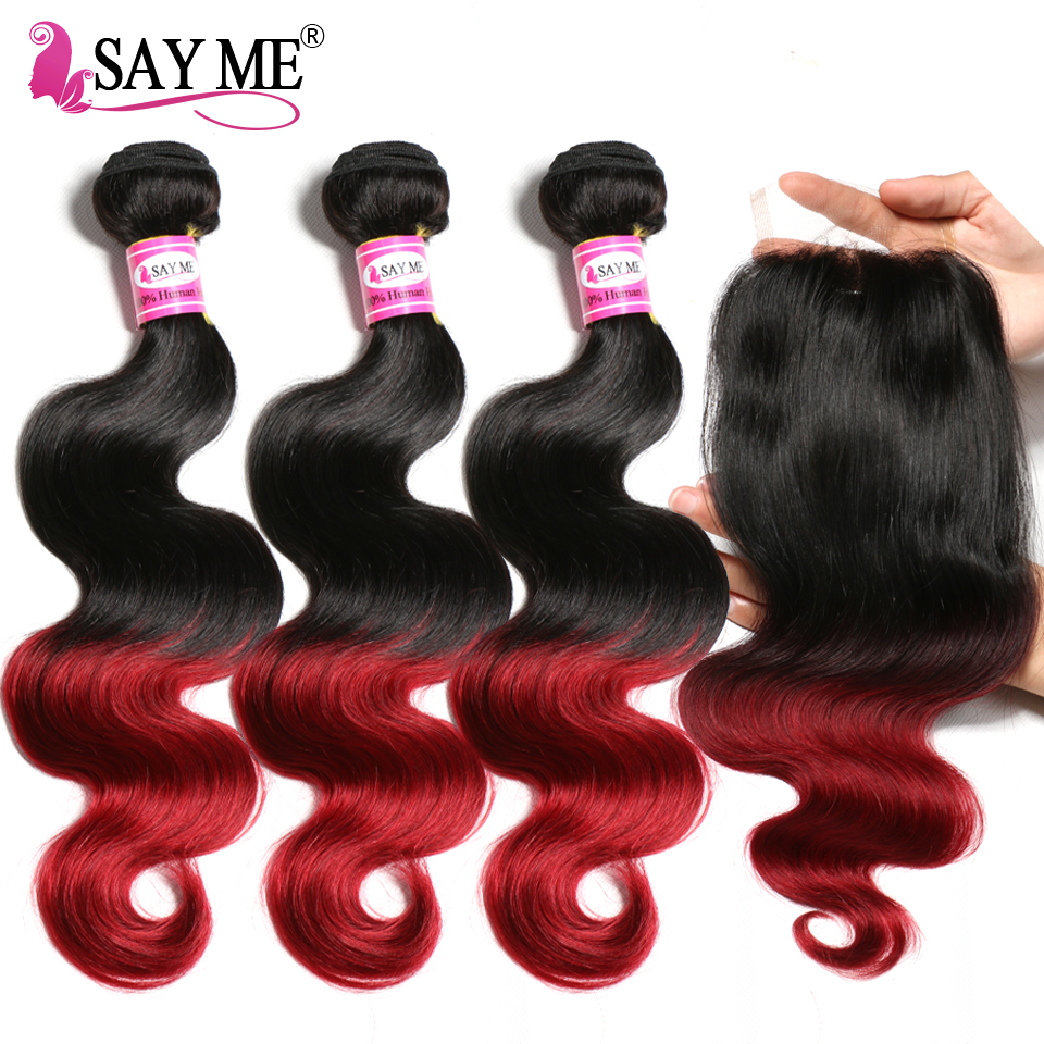 Brazilian Body Wave Bundles With Closure 3 Bundles 1B Burgundy Ombre Human Hair Bundles With Closure