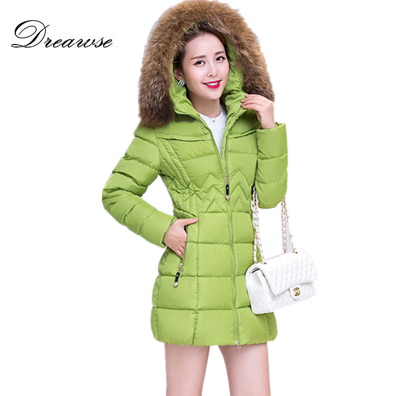 Dreawse Winter Women Thick Warm Coat Plus Size Nagymaros Collar Hooded Solid Color Dames Jassen Long Jacket Femme   Parkas   MZ1032