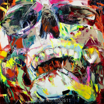 Palette knife painting portrait Palette knife Face Oil painting Impasto figure on canvas Hand painted Francoise Nielly 15-16